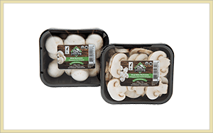 whole and sliced organic white mushrooms with Farmers' Fresh label